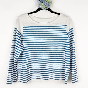 J. Crew Placed Stripe Metallic Top White Blue L
